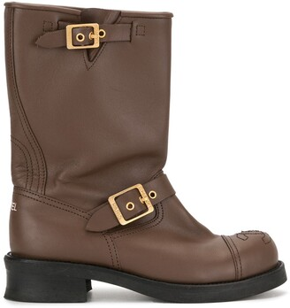 Chanel Pre Owned buckle CC boots