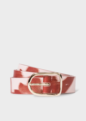 Paul Smith Women's Red And Light Pink 'Rose Photo' Slim Leather Belt