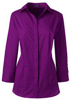 Classic Women's Plus Size 3/4 Sleeve Floral Geo Broadcloth Dress Shirt-Dark Cobalt Blue Geo Floral