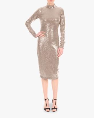 Badgley Mischka Mock Neck Sequin Dress