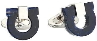 Salvatore Ferragamo Marble Resin Single Gancini (Blue) Cuff Links