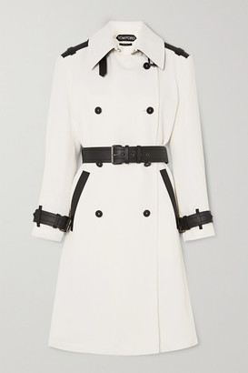 Tom Ford Two-tone Leather-trimmed Canvas Trench Coat - White