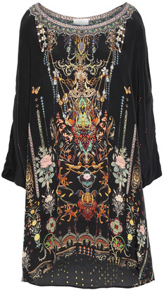 Camilla Rebelle Rebelle Asymmetric Embellished Silk Mini Dress