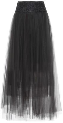 Brunello Cucinelli Embellished tulle maxi skirt
