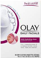 Olay Daily Facials Daily Clean Wipes, 4-in-1 Water Activated Cloths, 66 count Packaging may Vary