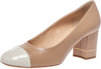 Chanel Beige Leather And White Patent Cap Toe Block Heel Pumps Size 41