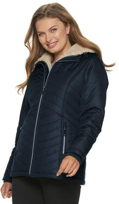Details Women's Sherpa-Lined Hooded Puffer Jacket