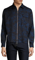 Timo Weiland Drew Silk Printed Zip Front Jacket