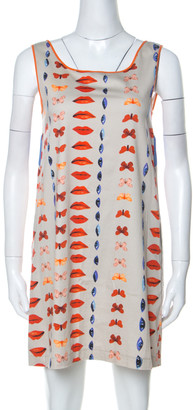 Philosophy di Alberta Ferretti Beige & Multicolor Printed Cotton Sleeveless Shift Dress M
