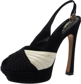 Saint Laurent Paris Saint Laurent Black/Cream Suede and Leather Criss Cross Platform Slingback Sandals Size 40