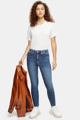 Topshop Womens Petite Mid Blue Jamie Jeans - Mid Stone