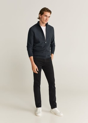 MANGO MAN - Zipper cotton cashmere cardigan dark navy - S - Men