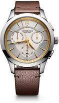 Victorinox Men's 'Alliance' Swiss Quartz Stainless Steel and Leather Casual Watch, Color:Brown (Model: 241750)