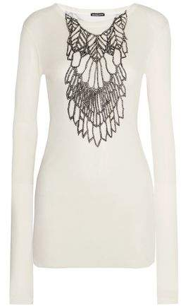 Ann Demeulemeester Metallic Printed Ribbed Jersey Top