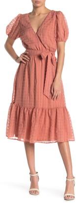 A.Calin Short Sleeve Waist Tie Midi Dress