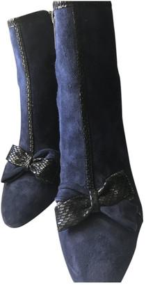 Karl Lagerfeld Paris Blue Fur Boots