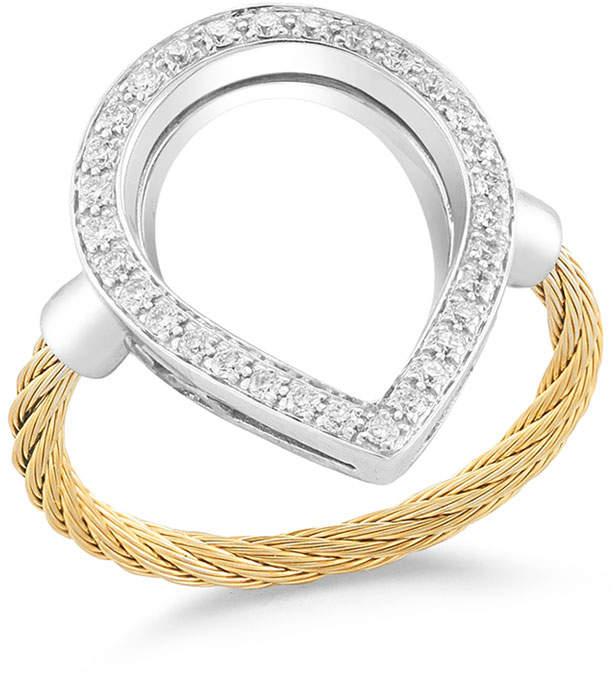 Alor Open Diamond Pavé Teardrop Ring, Yellow, Size 6.5
