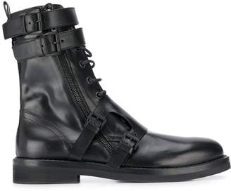 Ann Demeulemeester side buckle lace-up boots