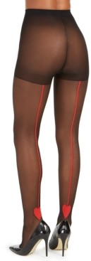 INC International Concepts Inc Women's Red-Heart-Backseam Tights, Created for Macy's