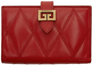 Givenchy Red Medium Quilted GV3 Bifold Wallet