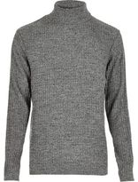 River Island MensDark grey ribbed roll neck slim fit sweater