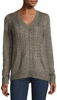 MICHAEL Michael Kors Cable-Front V-Neck Sweater, Brown Pattern