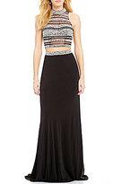 JVN by Jovani Jeweled Illusion Stripe Mock Neck Two-Piece Long Dress