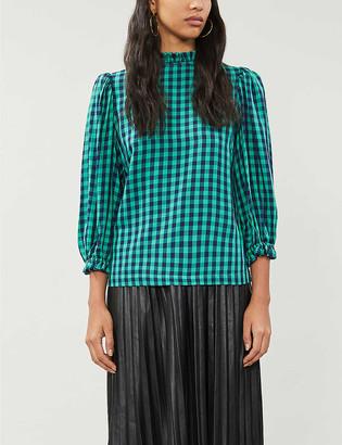Kitri Ruffled-trim puff-sleeve checked woven blouse