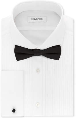 Calvin Klein X Men Extra-Slim Fit Pleated Formal White French Cuff Tuxedo Dress Shirt & Pre-Tied Solid Bow Tie Set