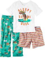 Carter's Toddler Boy Graphic Tee, Striped Shorts & Print Pants Pajama Set