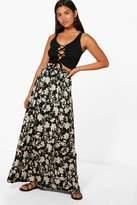 boohoo Jorga Dark Floral Floor Sweeping Maxi Skirt