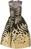 Oscar de la Renta fern embellished flared dress