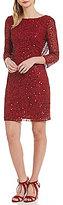 Pisarro Nights Petite 3/4 Sleeve Sequin Sheath Dress