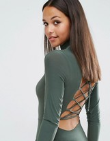 Club L High Neck Bodysuit With Lace Up Back