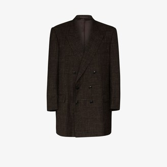 Martine Rose Double-Breasted Check Brooch Wool Blazer