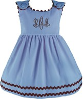 The Well Appointed House Girl's Bon Bon Baby Blue Corduroy Dress with Chocolat Trim-Can Be Personalized