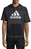 adidas Sports Id Short Sleeve Knit Hoodie-Athletic