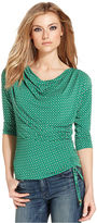 MICHAEL Michael Kors Top, Three-Quarter-Sleeve Printed Ruched
