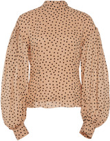 Ganni Polka-Dot Georgette Top