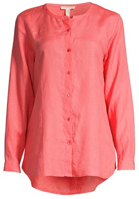 Eileen Fisher Button-Up Linen High-Low Shirt