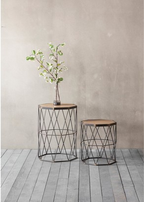 Hudson Living Marshal Set of 2 Metal and Solid Wood Side Tables