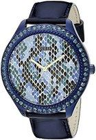 GUESS Women's U0625L3 Iconic Indigo Blue Python Print Watch