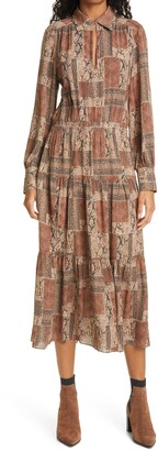Frame Willa Snake Print Silk Long Sleeve Dress