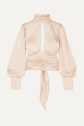 Orseund Iris Night Out Open-back Ruched Satin Blouse - Neutral