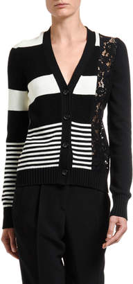 No.21 No. 21 Striped Button-Front Cardigan w/ Lace Inset