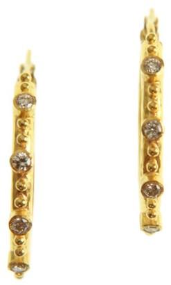 Elizabeth Locke 19K Yellow Gold & Diamond Hoop Earrings
