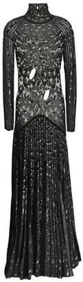 Roberto Cavalli Cutout Pleated Metallic Crochet-knit Gown