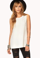 Forever 21 Embellished Chiffon Top