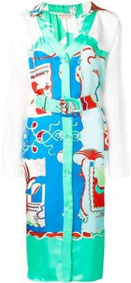 Emilio Pucci La Villa Print Belted Silk Shirt Dress