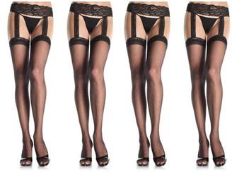 Leg Avenue Women's Plus Size Sheer Thigh High Stockings Lace Garter Belt, Black, Plus Size, 4-Pair